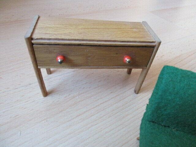 Wohnstube Wohnzimmer Sessel Tisch Schrank Puppenstube Holz 50/ 60er Jahre 11