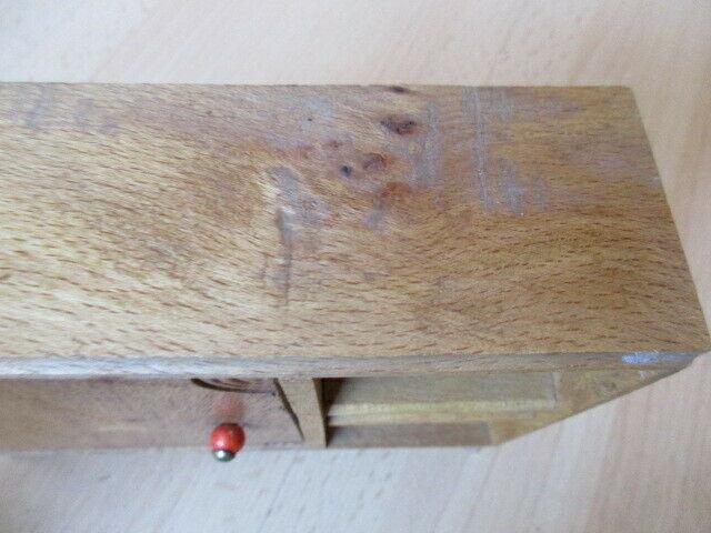 Wohnstube Wohnzimmer Sessel Tisch Schrank Puppenstube Holz 50/ 60er Jahre 6