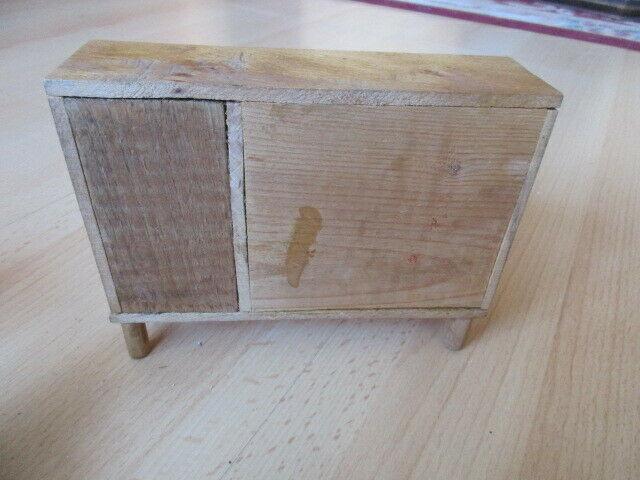 Wohnstube Wohnzimmer Sessel Tisch Schrank Puppenstube Holz 50/ 60er Jahre 7