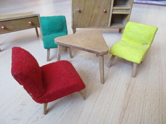 Wohnstube Wohnzimmer Sessel Tisch Schrank Puppenstube Holz 50/ 60er Jahre 9