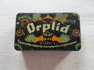 Seltene Blechdose schwarz ORPLID Cigarettenfabrik Constantin Hannover um 1920