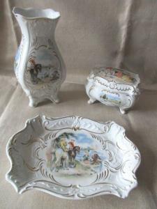 Unterweissbach Porzellan SET Deckeldose Schale Vase im Originalkarton Barock