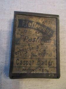 Seltene alte Blechdose Pfefferminz Pastillen Caspar Bader München um 1910