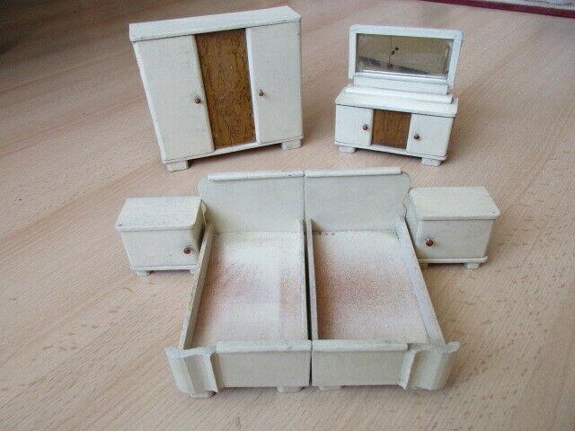 Schlafzimmer komplett Puppenstube Puppenhaus Doll House Holz 30/40er Jahre 0