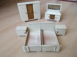 Schlafzimmer komplett Puppenstube Puppenhaus Doll House Holz 30/40er Jahre