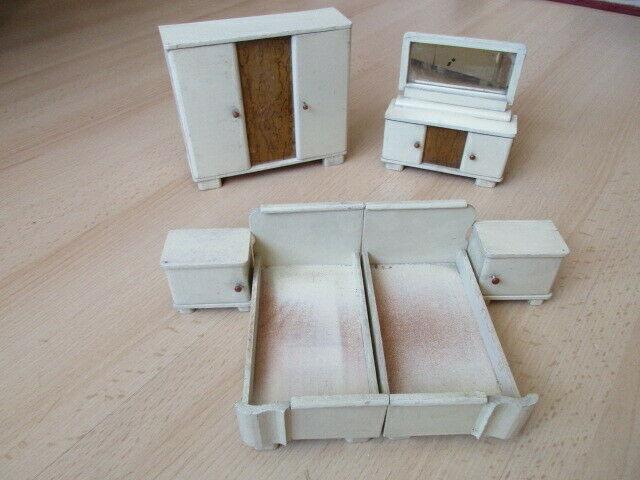 Schlafzimmer komplett Puppenstube Puppenhaus Doll House Holz 30/40er Jahre 1