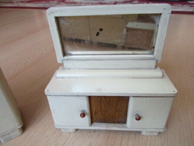 Schlafzimmer komplett Puppenstube Puppenhaus Doll House Holz 30/40er Jahre 4