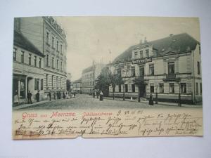 Seltene alte AK Gruss aus Meerane Sachsen Schützenstrasse gelaufen 1901