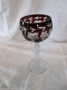 Schöner alter Bleikristall Kristall Römer Weinglas Überfang Rubin