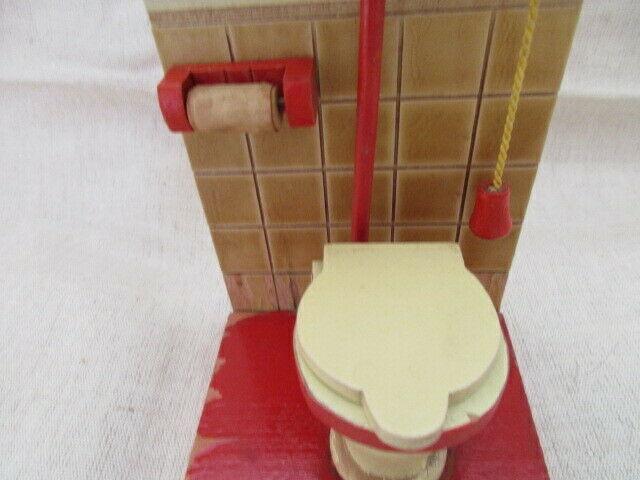 Puppenmöbel Bad Badezimmer Toilette Holz 60er Jahre 2