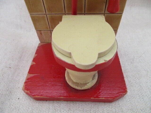 Puppenmöbel Bad Badezimmer Toilette Holz 60er Jahre 3