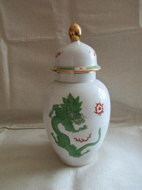Freiberger Porzellan wunderschöne Deckelvase Vase grüner Drachen Ming 0