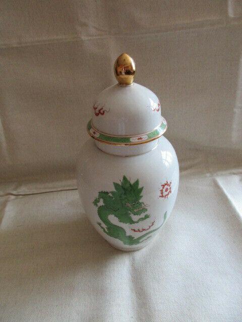Freiberger Porzellan wunderschöne Deckelvase Vase grüner Drachen Ming 2