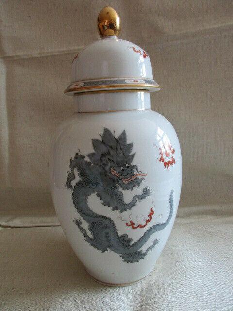 Freiberger Porzellan wunderschöne Deckelvase Vase schwarz grau Drachen Ming 0