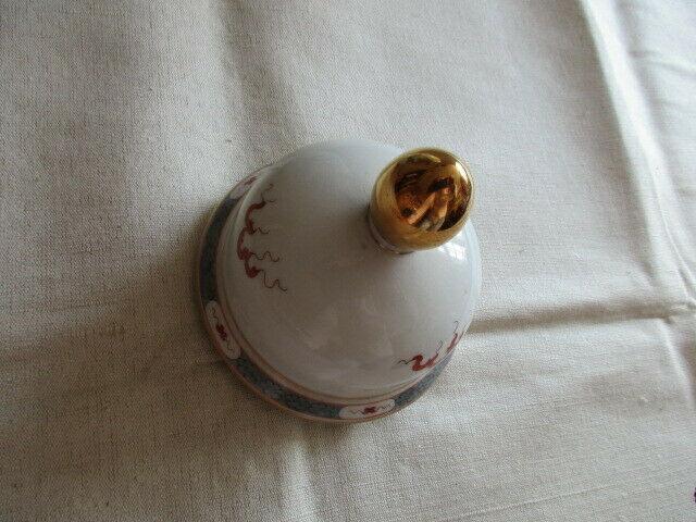 Freiberger Porzellan wunderschöne Deckelvase Vase schwarz grau Drachen Ming 4