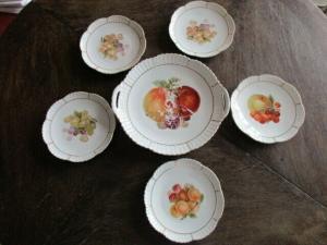 Leuchtenburg Porzellan 5 Obst Teller + Anbietschale Kuchenteller Obstdekor