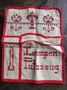 Alter Leinen Beutel LAMPEN PUTZZEUG rote Stickerei Jugendstil um 1900