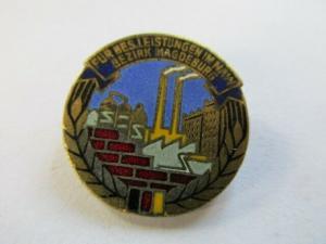 DDR Abzeichen Magdeburg Aufbaunadel Gold