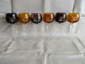 6 alte Bleikristall Weingläser Römer 3 x Berstein 3 x Rubin