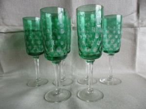 6 alte Bleikristall Sektgläser Sektflöten Augen Römer grün