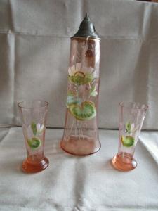 Jugendstil Glas Krug Kanne + 2 Gläser Zinndeckel Emaile Malerei Rosalin Lotus