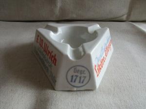 Porzellan Aschenbecher F. W. Ulrich Likörfabrik Unterweißbach Werbung