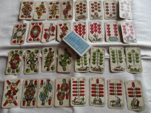 FX Schmidt München alte Skatkarten 32 Blatt Litho um 1910 mit Werbung