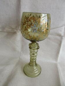 Böhmen alter Weinpokal Weinglas Noppenglas Waldglas Römer Emailemalerei H 25,5