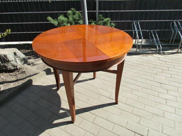 Runder Tisch zum Ausziehen Jugendstil um 1900 Nussbaum 0
