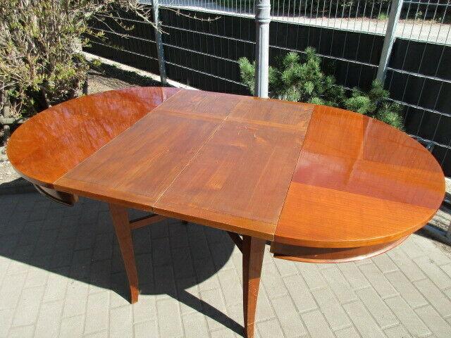 Runder Tisch zum Ausziehen Jugendstil um 1900 Nussbaum 11