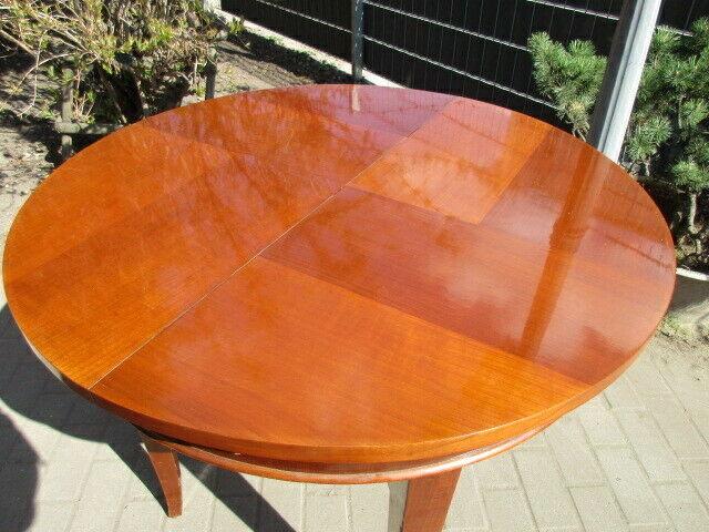Runder Tisch zum Ausziehen Jugendstil um 1900 Nussbaum 5
