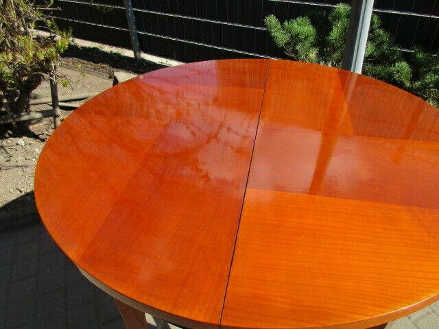 Runder Tisch zum Ausziehen Jugendstil um 1900 Nussbaum 6