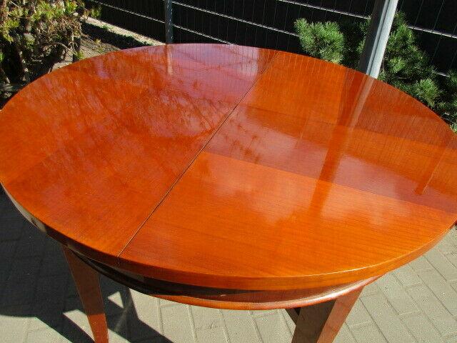 Runder Tisch zum Ausziehen Jugendstil um 1900 Nussbaum 7