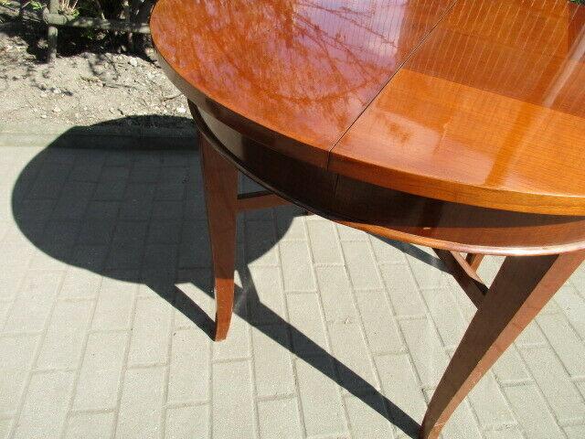Runder Tisch zum Ausziehen Jugendstil um 1900 Nussbaum 8