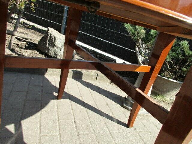 Runder Tisch zum Ausziehen Jugendstil um 1900 Nussbaum 9