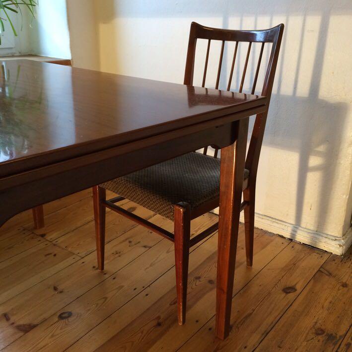 unikat nussbaum holztisch mit 5 st hlen und sitzbank. Black Bedroom Furniture Sets. Home Design Ideas