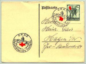 (0360544)  Postkarte mit 2 Sonderstempeln : 'Graz 20. April 1938 Geburtstag des Führers'