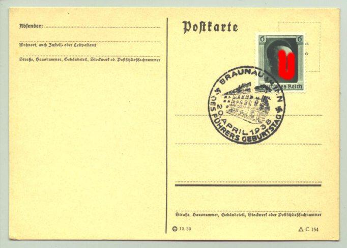 (0360545)  Postkarte mit grüner 6Rpf.-Hitler-Marke, Sonderstempel : 'Braunau am Inn - 20. April 1938 - Des Führers Geburtstag'.