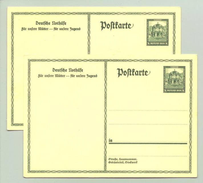 (0360549)  Zwei Karten 'Deutsche Nothilfe / Für unsere Mütter - für unsere Jugend'