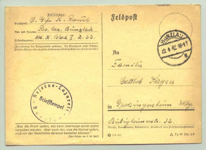 (1009852)  Original Feldpostkarte mit Aufdruck aus Führerrede v. 3.10.1941. Siehe bitte Beschreibung.
