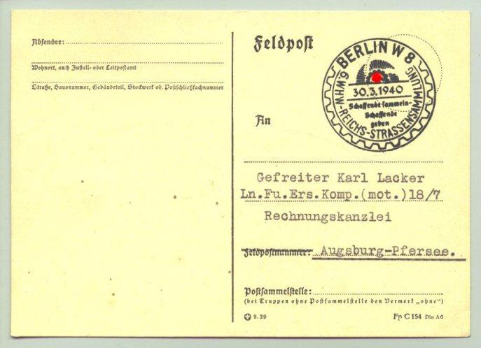 (1009899)  Feldpostkarte. Sonderstempel 6. WHW-Reichs-Straßensammlung - Berlin W 8 - 30.3.1940. Siehe bitte Beschreibung.