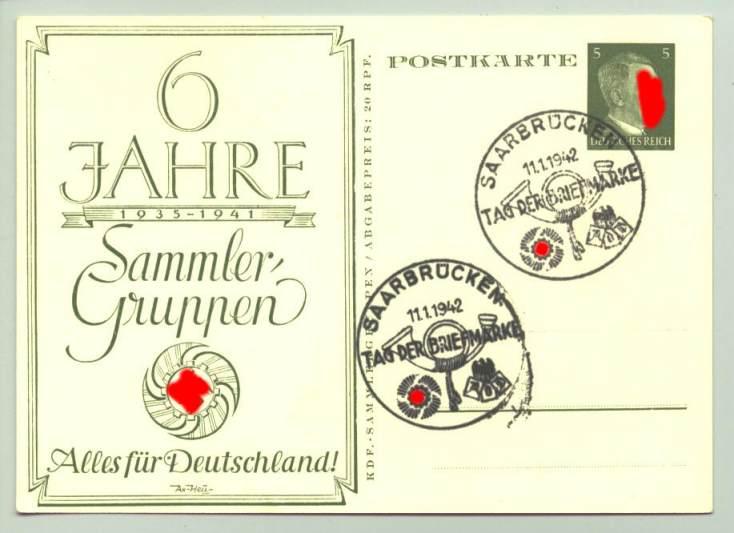 (1009913)  Sonderpostkarte. 6 Jahre Sammler-Gruppen 1935-1941. Siehe bitte Beschreibung.