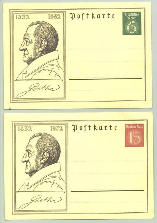 (1010133)  Zwei Sonderpostkarten des Deutschen Reiches zum Goethe-Jubiläum 1832 - 1932. Siehe bitte Beschreibung