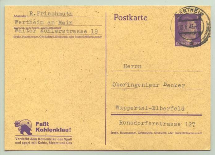 "(1016016)  Original Postkarte ""Faßt den Kohlenklau ! ... ""  Stempel 1943. Ganzsache. Siehe bitte Beschreibung"