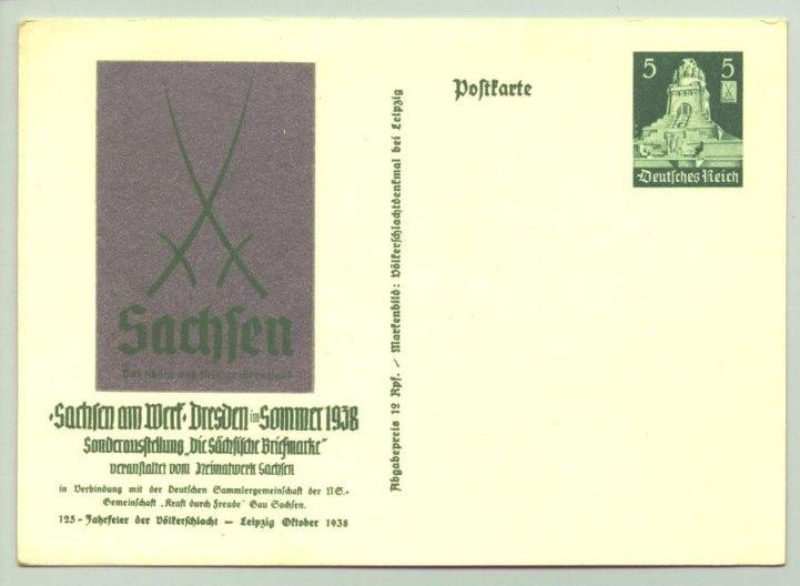 (1025424)  Sonder-Postkarte 'Sachsen am Werk' 1938. Siehe bitte Beschreibung