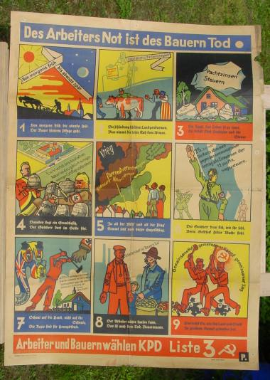 ORIGINAL-Wahlplakat der Kommunistischen Partei Deutschland (KPD) von 1932 0
