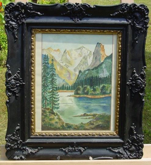 Gosausee mit Dachstein. Signiert Storek Frz. Altes Gemälde auf Papier 'Gosausee mit Dachstein'. Signiert : 18 / 8. 51 Storek Frz.