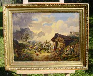 Altes Ölgemälde auf Leinen. Jagdmotiv an Berghütte im Hochgebirge. Vermutlich vor 1900. Süddeutschland / Österreich / Alpenraum ?