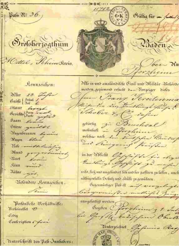 (2001045) Großherzogtum Baden. Alter Reisepass vom Juli 1840. 1