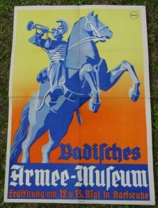 (2001148) Armee-Museum-Plakat 1930-er Jahre. Original-Plakat. Farbiges Plakat  (satte Farbtöne - gelb, orange, rot, blau)